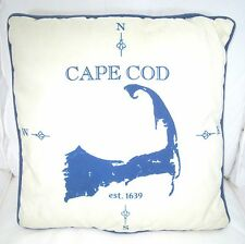 CAPE COD Nautical ACCENT Throw PILLOW Indoor/Outdoor NAVY/Ivory 16 x 16