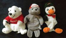 Lot of 3 1997 Coca Cola Beanie Plush Polar Bear Seal Penguin Holding Coke Bottle