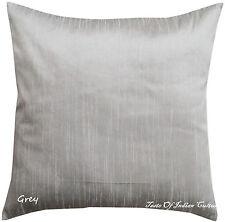 Handmade Gray 16'' Square Cushion Pillow Cover Silk Dupion Sofa Throw Home Decor