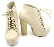 "Vintage Shoes Leather Lace-up Boot Platform Closed 5"" Block  Heels Beige Size 6"
