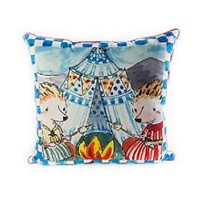 """MACKENZIE CHILDS HAPPY CAMPERS PILLOW 22"""" SQUARE BRAND NEW ROYAL CHECK BACK"""
