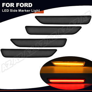 For FORD MUSTANG 2010-2014 Front & Rear LED Side Marker Light Lamp Smoked 4PCS