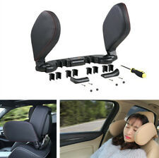 Auto Car Headrest Head Neck Support Pillow Foldable Black PU Leather for Sleep