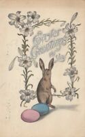 EASTER, PU-1919; Greetings, Rabbit standing on hind legs watching colored eggs