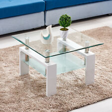 8mm Tempered Glass Coffee Table Square With Shelf White Chrome Legs 2 Tier