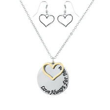 Lux Accessories Silver Tone Love Always For Mom Engraved Charm Necklace Set 2PC
