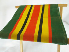 Vintage yellow green red black striped canvas folding wood camp chair stool