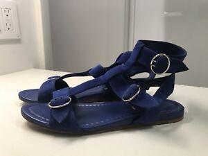 PRADA Suede Leather Navy Gladiator Sandals Flat Buckle Size 8  38
