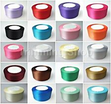 25mm x 25 Metres Full Roll Quality Double Sided Faced Satin Ribbon 24 Colours UK