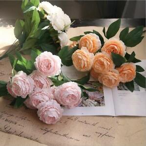 10Head Silk Artificial Peony Rose Flowers Fake Leaf Wedding Bridal Bouquet