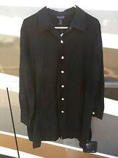 NWT Dialogue QVC Linen Rayon Blend Long Black Shirt Jacket Large - Shell Buttons