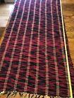 "Vintage Braided Rag Rug, 51"" x 27"", Red & Black Handmade Unused Antique Boho"