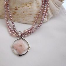"""QVC HonoraTriple Strand Freshwater Pearl Necklace & PINK  MOP Pendant-17"""" PLUM"""