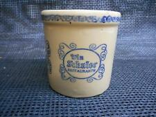 Old Vtg WIN SCHULER RESTAURANTS Stoneware Crock Michigan USA Pottery Advertising
