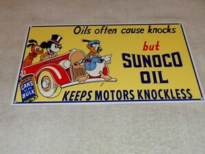 "VINTAGE SUNOCO OIL MICKEY MOUSE, DONALD DUCK & PLUTO 12"" METAL GASOLINE SIGN GAS"