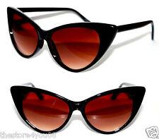 Cat Eye 50's Vintage Nikita Retro Sunglasses Black Frame Brown Lens Retro Pin Up