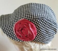 Black and White Houndstooth Check Newsboy Type Hat with Red Rose