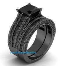 Certified 4.01 ct Black Diamond Bridal set in 14K GOLD Engagement Ring Set