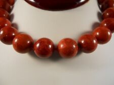 14 mm Red Round Sponge Coral Necklace With Sterling Silver Toggle Clasp