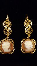 RARE Antique Victorian 9ct Yellow Gold Carnelian Cameo Drop Chandelier Earrings