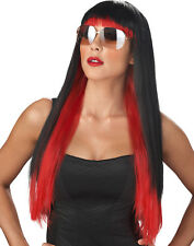 Lady Gaga Long Red/Black Diva Sexy Punk Womens Halloween Costume Accessory Wig