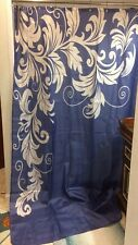"""Extra Long Navy/White Graph Shower Curtain 72"""" x 94"""""""
