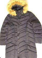 Tommy Hilfiger Women's Long Chevron Quilted Down Alternative Coat Fur Trim XL