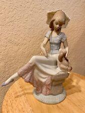 "Lladro Figurine #7612 ""Picture Perfect"" Girl w/ Puppy & Parasol"