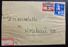 1940s Tarnowiec GG Germany Registered Front Cover To Krakow