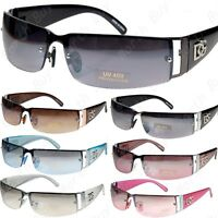 New Mens Womens Rectangular Rimless Designer Sunglasses Shades Eyewear Wrap