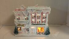 SHABBY CHIC CHRISTMAS HOUSE REPAINTED CERAMIC HOUSE PINK GLITTER OOAK STORE