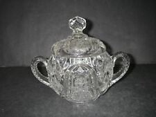 EAPG McKee Glass WILTEC Clear Pres Cut Sugar Bowl & Lid 1904 Antique.