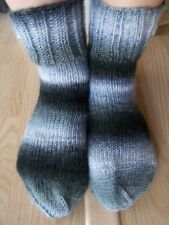 Hand knitted cozy and warm wool blend socks, gray shades