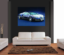 BUGATTI VEYRON BLUE AND WHITE Giant Wall Art Print Picture Poster