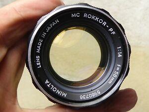 Minolta MC Rokkor PF 58mm F1.4 Lens with front + rear cap + quality filter