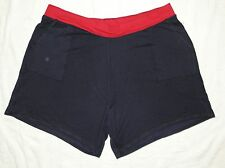 JMS Plus French Terry Two Tone Pocket Shorts Navy with Red Waistband 4X NEW