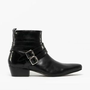 Club Cubano RODRIGO Mens Cuban Heel Pointed Winklepicker Beatle Boots Black