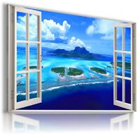 "3D PARADISE  Window View Canvas Wall Art Picture Large SIZE 30X20"" W270"