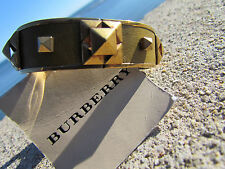 NEW BURBERRY PRORSUM bracelet ITALY leather brass studs mustard Springhill sleek
