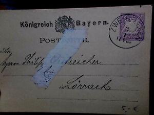 Postkarte Zweibrücken 4.4.1881 nach Lörrach