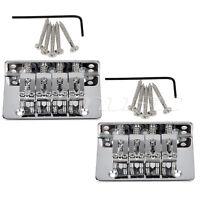 2 Sets Chrome 4 String Fixed Bridge For Mandolin Ukulele Cigar Box Guitar Parts