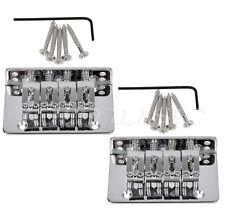 2 sets 4 String Hardtail Bridge For Mandolin Ukulele Cigar Box Guitar Chrome