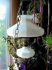 "Vintage 10""White Milk Glass Paneled Shade Font Hanging Hurricane Swag Lamp Light"