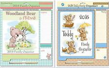 2016 Family Organiser Calendar Teddy Design Memo Pad Pen Shopping List 0025