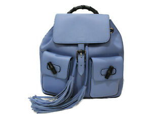 GUCCI bamboo backpack 370833 leather blue rucksack fringe simple used