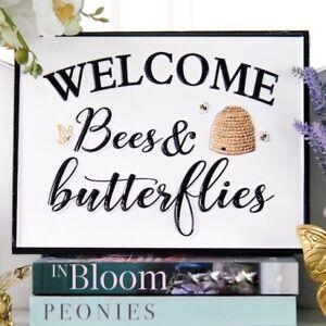 Welcome Bees and Butterflies Enamel Garden Plaque Hamptons Coastal Home Decor