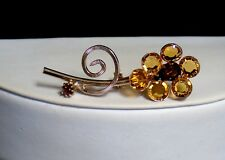 Vintage Bezel Set Faceted Amber Austrian Crystals Topaz Rhinestones Flower Pin
