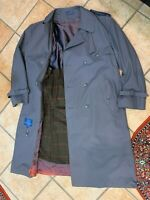 TOWNCRAFT GREY TRENCH OVERCOAT COAT FULL LENGTH MEN 44 R PLAID REMOVABLE LINING