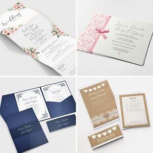 Personalised Wedding Invitations Invites RSVP Cards Day/Evening - FREE Envelopes