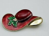 Vintage Red Hat Society Christmas Brooch Pin Holly Enamel Rhinestones Gold Tone